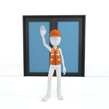 3d man worker stop on white background  photo