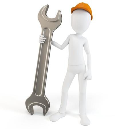 3D man ingenieur met sleutel op wit