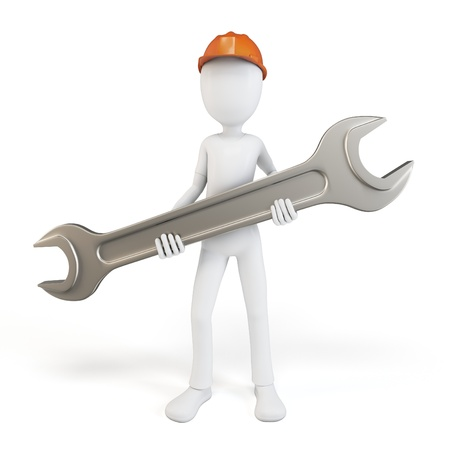 mechanical engineer: 3d man engineer with wrench on white