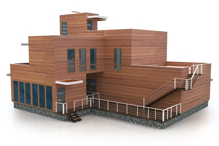 architectural rendering: 3d building generic rendered  on white  background