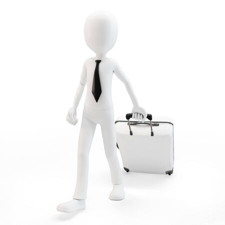 3d man businessman pulling a trolley suitcase on white background Stock Photo - 13066700