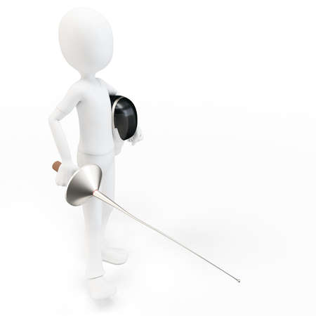 3d man fencer with mask and sword on white background photo