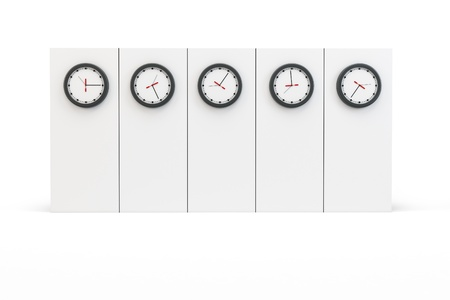 time zones: 3d time zones wall with clocks on white background Stock Photo