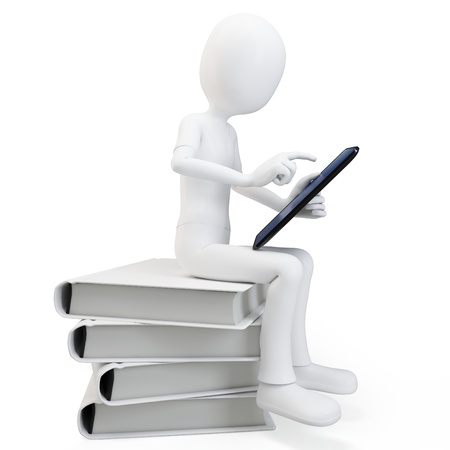 3d man sitting on a pile of books working with a tablet on white background