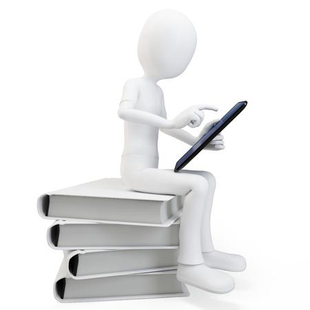3D man zittend op een stapel boeken te werken met een tablet op een witte achtergrond