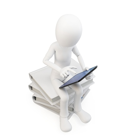 studying computer: 3d man sitting on a pile of books working with a tablet on white background