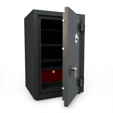 3d open safe box protection concept on white background photo