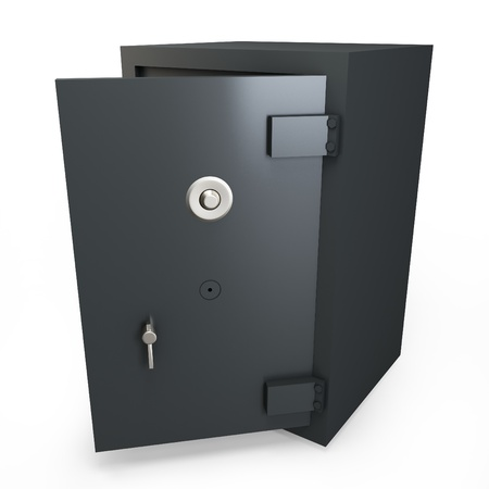 underwrite: 3d open safe box protection concept on white background Stock Photo