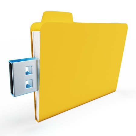 pocket pc: 3d yellow usb folder concept on white background