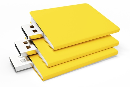 microdrive: 3d yellow usb folders concept on white background