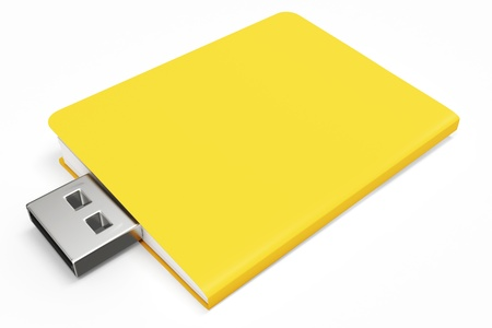 microdrive: 3d yellow usb folder concept on white background