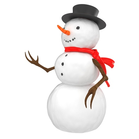 3d snowman with hat and scarf on white background photo