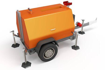 diesel: 3d mobile power generator on white background