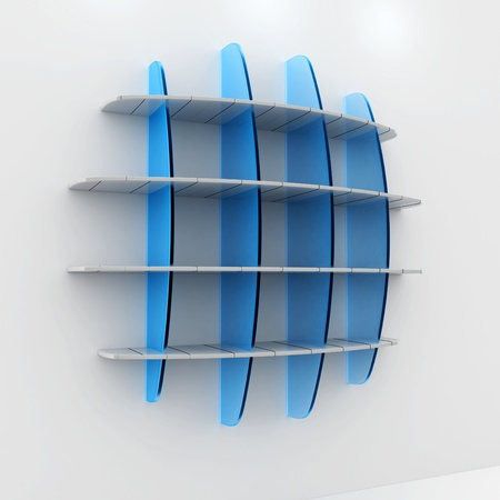 3d Empty wood and glass shelves for exhibit on white background photo