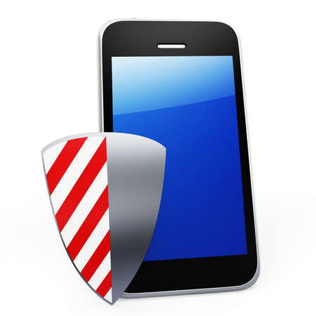 3d mobile phone protected by shield security concept on white background Stock Photo