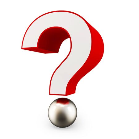 3d shiny question mark on white background photo