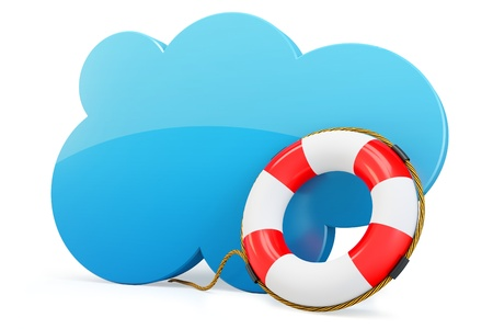 3d cloud computing backup rescue data on white background photo