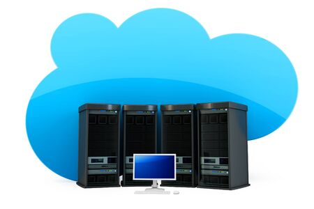 3d Cloud computing concept severs and terminal on white background Stock Photo - 13439908