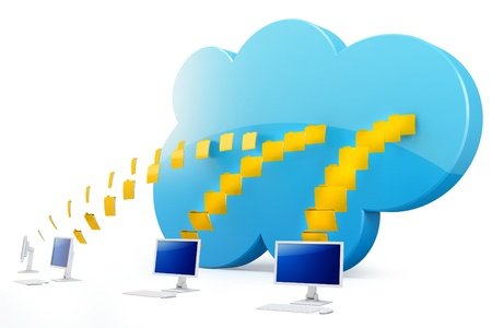 cloud storage: 3d cloud computing with terminals on white background
