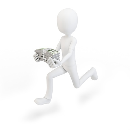 3d man running with stacks of cash on white background photo