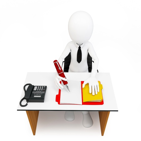 3d man businessman with tons of work to do on white background photo
