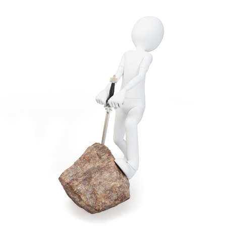 rightful: 3d man with sword in rock on white background
