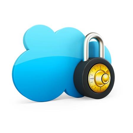 3d Cloud computing beveiligingsconcept met hangslot op witte achtergrond
