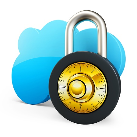 3d Cloud computing security concept with padlock on white background photo