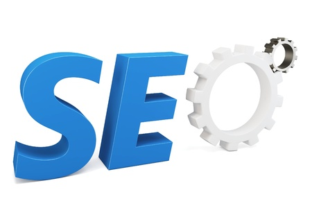 3d seo Search Engine gears on white background photo