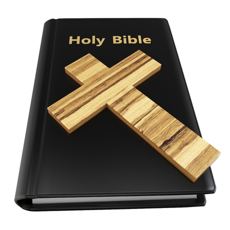 baptist: 3d holy bible with wooden cross on white background Stock Photo