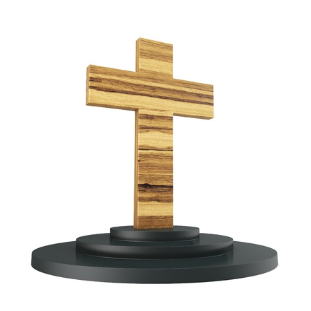 3d wooden cross with pedestal on white background photo