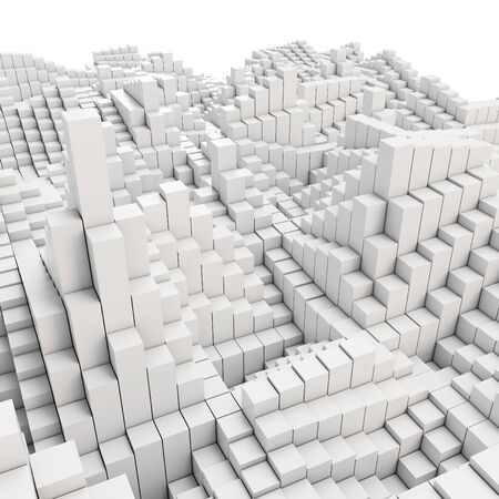 futurist: 3d abstract smooth white metallic cubes background