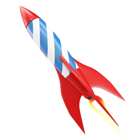 3d red space rocket detailed on white background photo