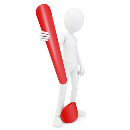 3d man exclamation point on white background Stock Photo - 13900946