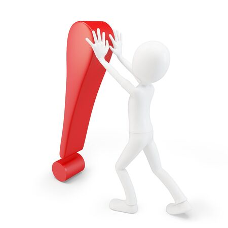 3d man exclamation point on white background photo