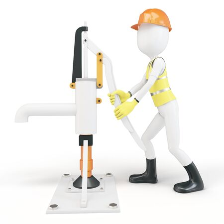 steel worker: 3d man with manual water pump on white background Stock Photo