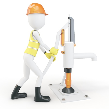 water pump: 3d man with manual water pump on white background Stock Photo