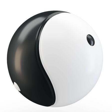 taoisme: 3d Ying yang symbool bol op witte achtergrond Stockfoto