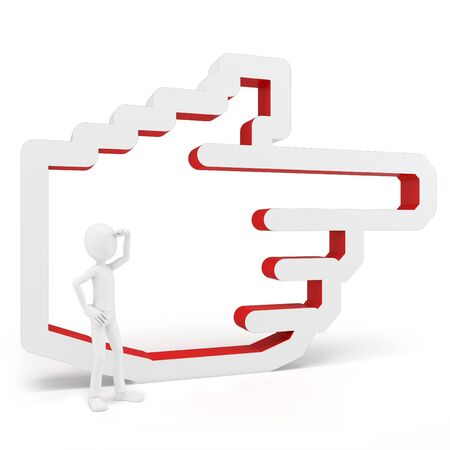 3d man with hand icon on white background Stock Photo - 14019002