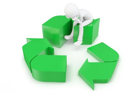 3d man with green recycling symbol on white background photo