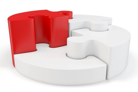 3d circle: 3d Puzzle Wheel with red part on white background