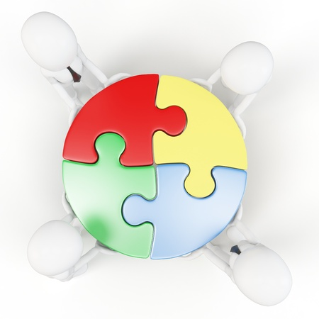 3d man with puzzle wheel  on white background  photo
