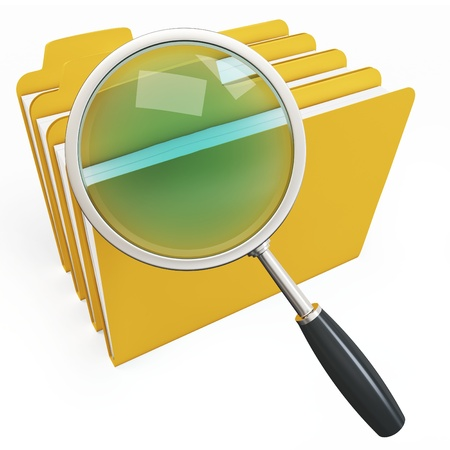 anti virus: 3d magnifying glass over yellow folders on white background