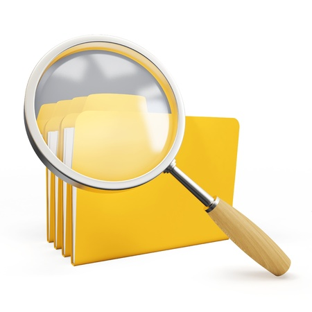 3d magnifying glass over yellow folders on white background