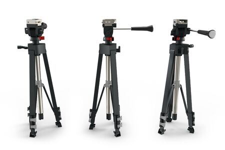tripods: 3d detailed camera tripods on white background Stock Photo