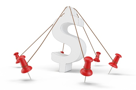 tied: 3d dollar sign tied down on white background