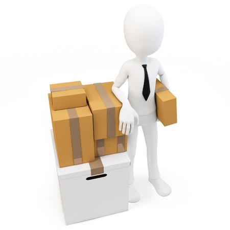 relocate: 3d man businessman with moving boxes on white background
