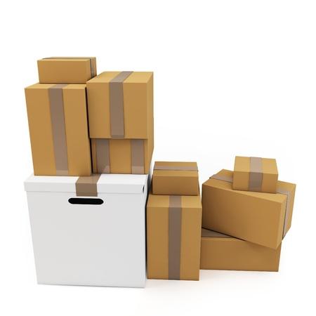 3d lege kartonnen dozen op een witte achtergrond