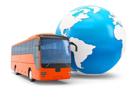 3d Bus travel around the globe on white background photo
