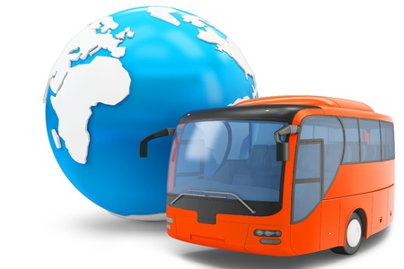 tourist bus: 3d Bus travel around the globe on white background